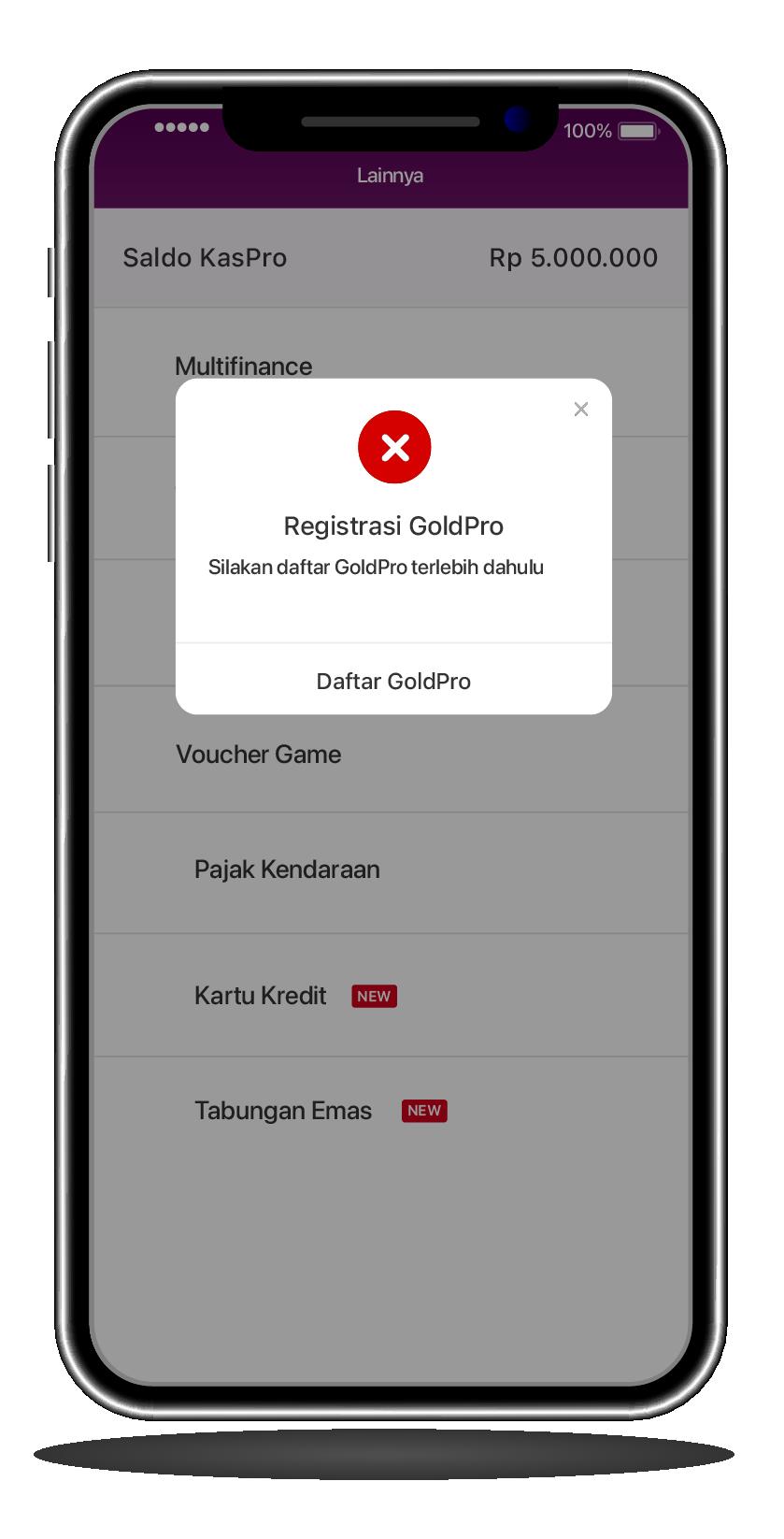 """Click """"Register GoldPro"""" menu"""