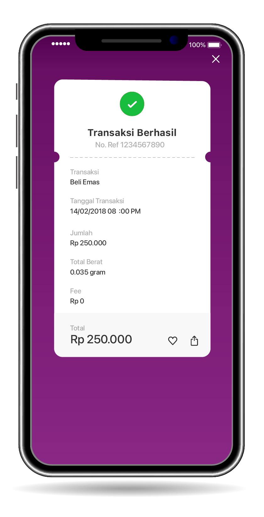 You will received a notification if transaction is successful
