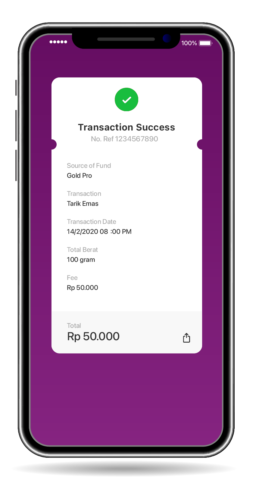 Notification will appear if transaction is successful