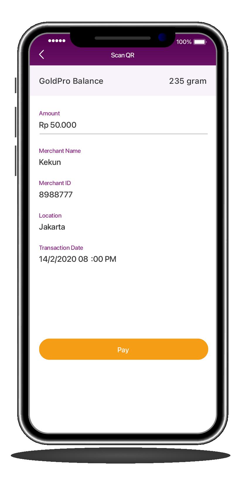 Enter payment amount then click