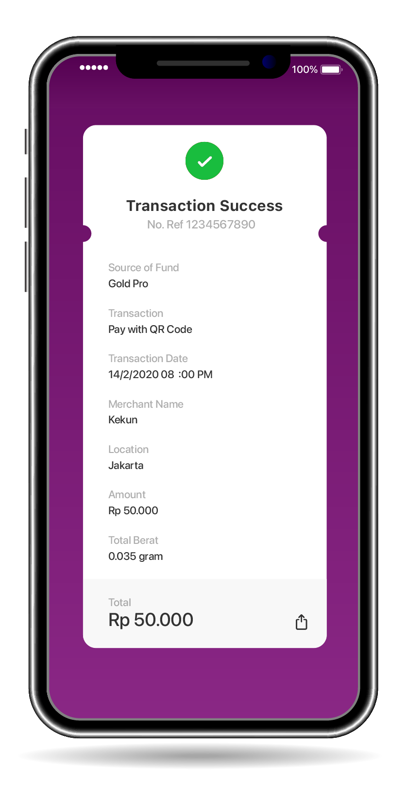 Notification will appear if the transaction is successful